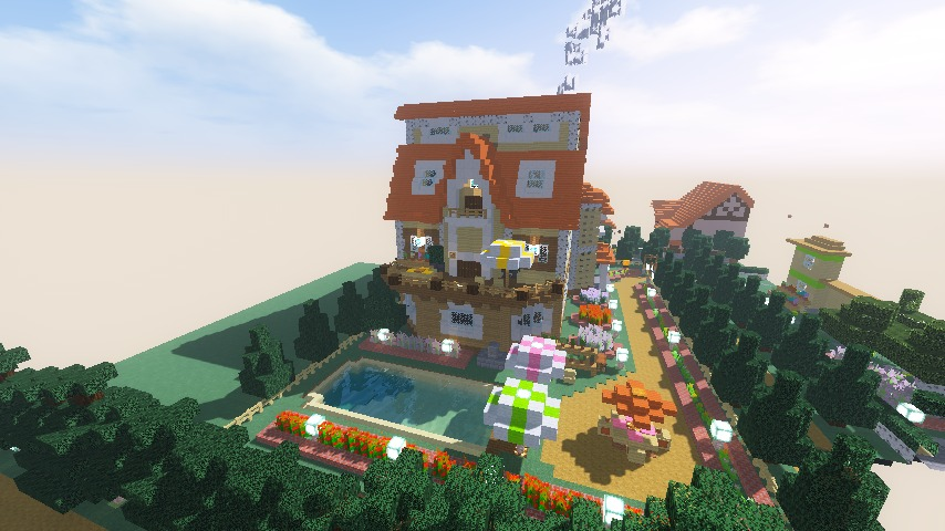 Minecrafterししゃもがマインクラフトでシルバニアファミリーの赤い屋根の大きなお家をつくる13