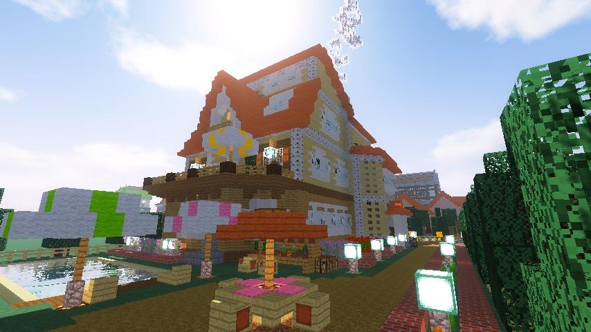 Minecrafterししゃもがマインクラフトでシルバニアファミリーの赤い屋根の大きなお家をつくる14