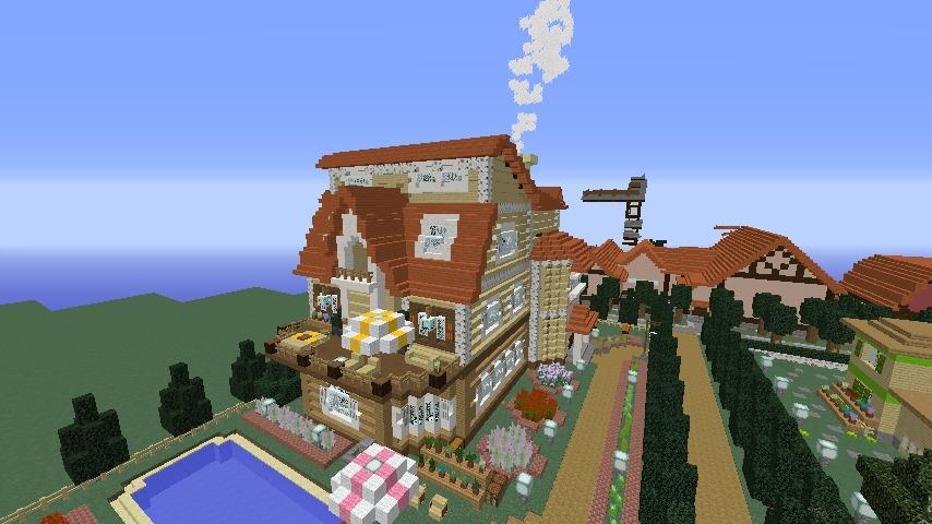 Minecrafterししゃもがマインクラフトでシルバニアファミリーの赤い屋根の大きなお家をつくる8