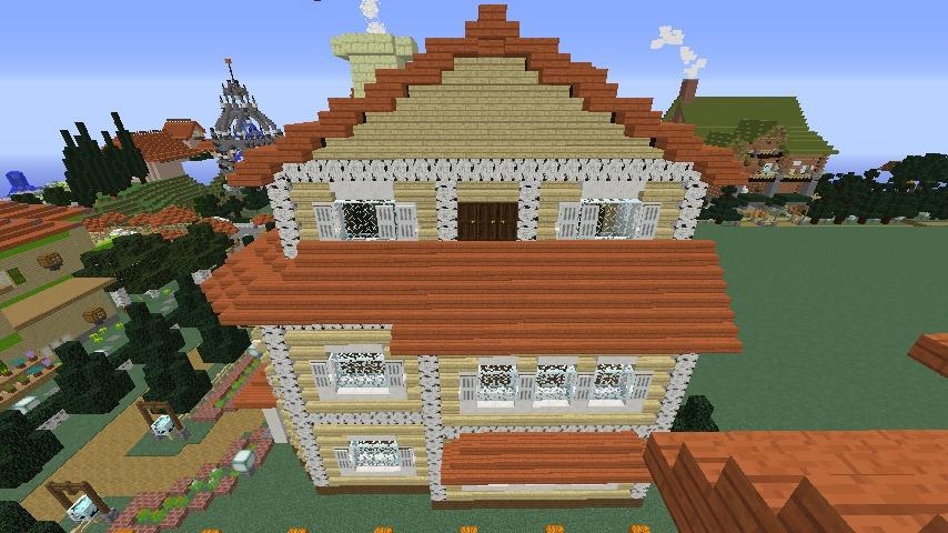 Minecrafterししゃもがマインクラフトでシルバニアファミリーの赤い屋根の大きなお家をつくる10
