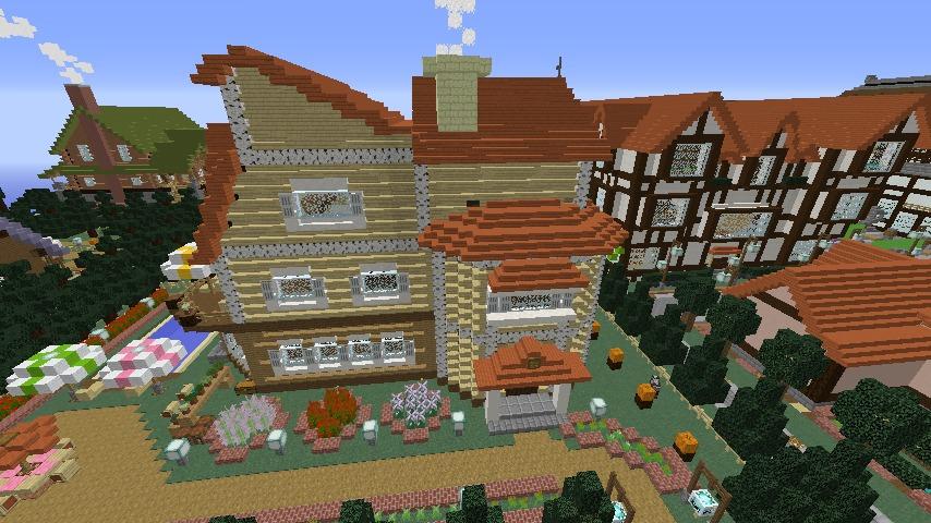 Minecrafterししゃもがマインクラフトでシルバニアファミリーの赤い屋根の大きなお家をつくる9