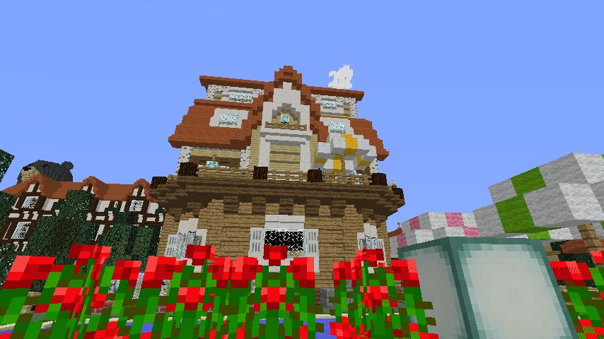 Minecrafterししゃもがマインクラフトでシルバニアファミリーの赤い屋根の大きなお家をつくる12