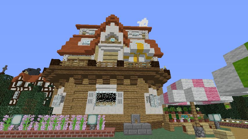 Minecrafterししゃもがマインクラフトでシルバニアファミリーの赤い屋根の大きなお家をつくる11