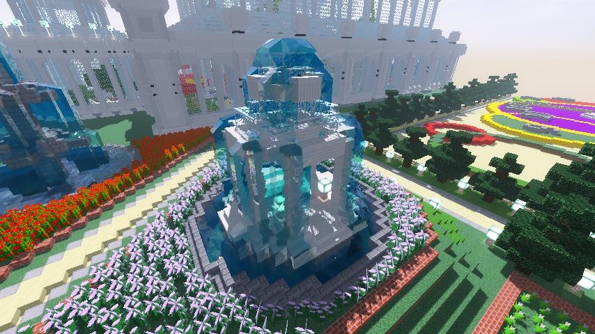 Minecrafterししゃもがマインクラフトでガゼボ風の噴水の作り方を紹介する11