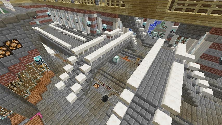 Minecrafterししゃもがマインクラフトで作った中央駅の内装を紹介する7