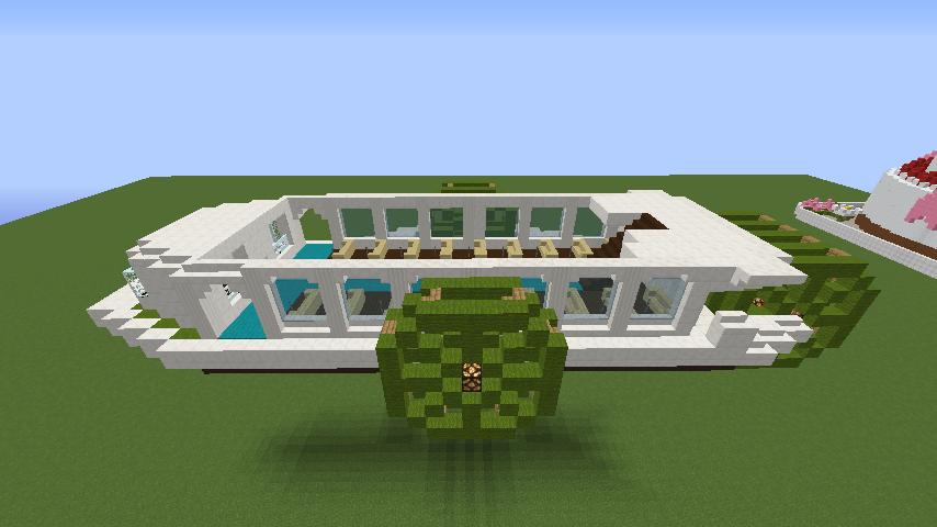 Minecrafterししゃもがマインクラフトでぷっこ村の新たな港を建設し、小型フェリーを浮かべる4