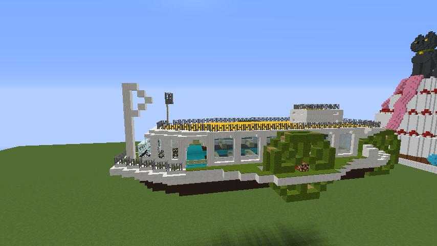 Minecrafterししゃもがマインクラフトでぷっこ村の新たな港を建設し、小型フェリーを浮かべる5
