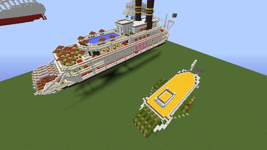 Minecrafterししゃもがマインクラフトでぷっこ村の新たな港を建設し、小型フェリーを浮かべる6