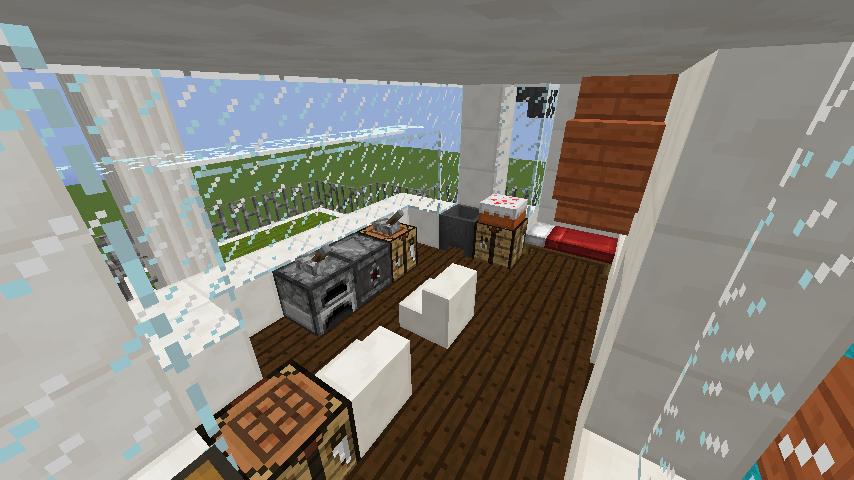 Minecrafterししゃもがマインクラフトでぷっこ村の新たな港を建設し、小型フェリーを浮かべる10