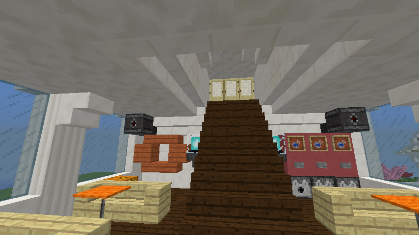 Minecrafterししゃもがマインクラフトでぷっこ村の新たな港を建設し、小型フェリーを浮かべる9