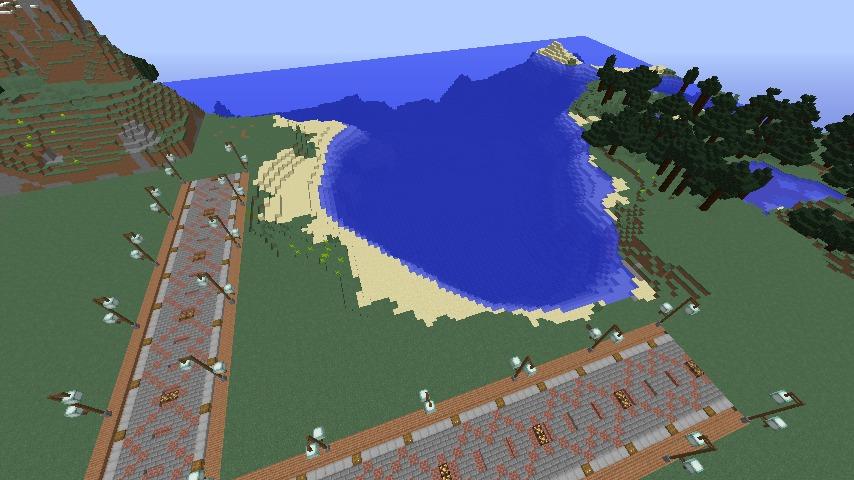 Minecrafterししゃもがマインクラフトでぷっこ村の新たな港を建設し、小型フェリーを浮かべる2