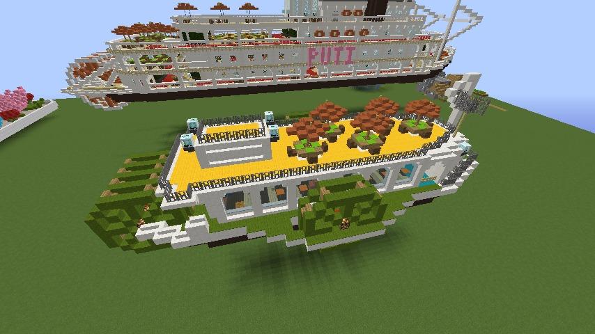 Minecrafterししゃもがマインクラフトでぷっこ村の新たな港を建設し、小型フェリーを浮かべる7