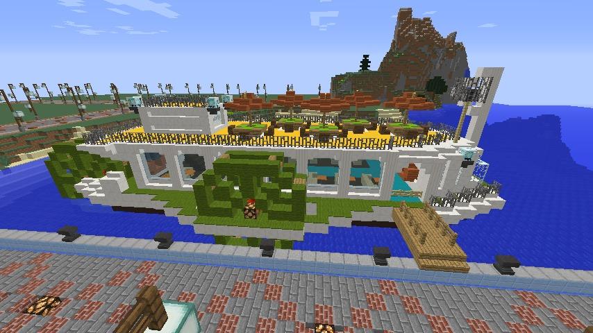 Minecrafterししゃもがマインクラフトでぷっこ村の新たな港を建設し、小型フェリーを浮かべる12