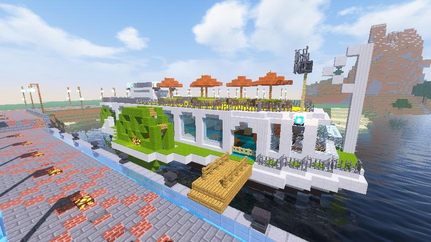 Minecrafterししゃもがマインクラフトでぷっこ村の新たな港を建設し、小型フェリーを浮かべる13