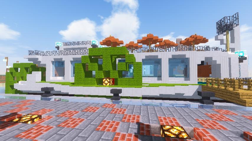 Minecrafterししゃもがマインクラフトでぷっこ村の新たな港を建設し、小型フェリーを浮かべる15