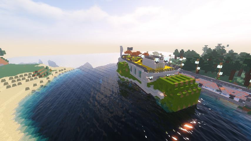 Minecrafterししゃもがマインクラフトでぷっこ村の新たな港を建設し、小型フェリーを浮かべる14