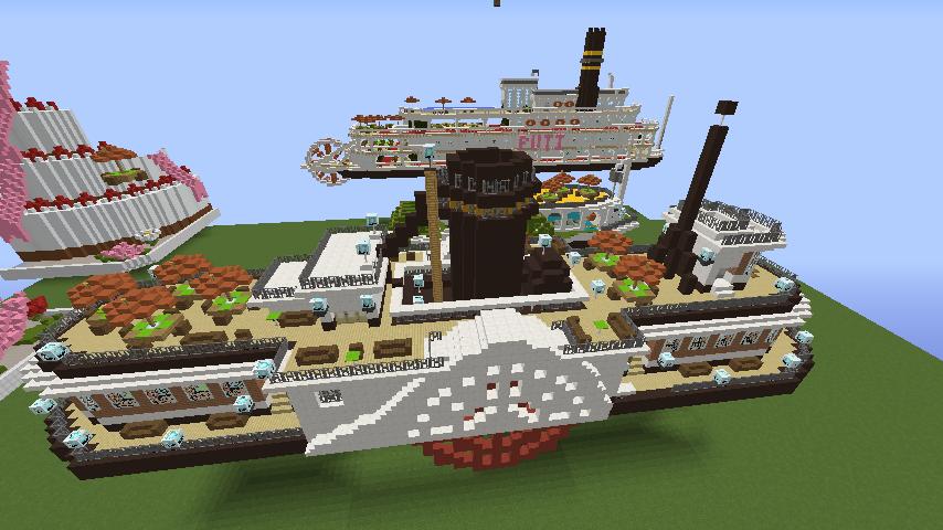 Minecrafterししゃもがマインクラフトでぷっこ村観光客のお迎え用フェリーを作る4