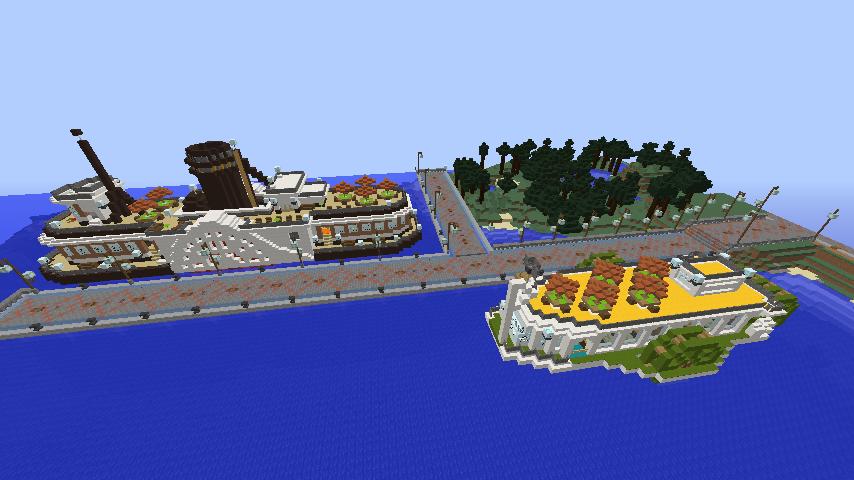 Minecrafterししゃもがマインクラフトでぷっこ村観光客のお迎え用フェリーを作る6
