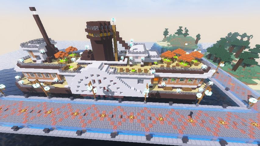 Minecrafterししゃもがマインクラフトでぷっこ村観光客のお迎え用フェリーを作る7