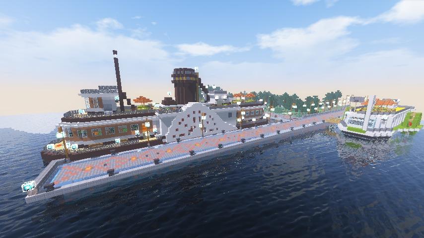 Minecrafterししゃもがマインクラフトでぷっこ村観光客のお迎え用フェリーを作る8