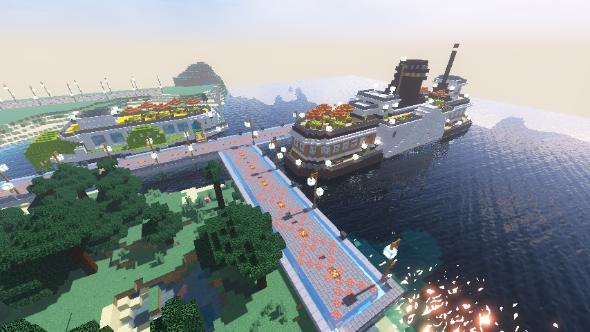 Minecrafterししゃもがマインクラフトでぷっこ村観光客のお迎え用フェリーを作る9