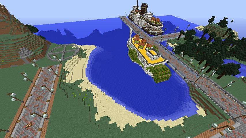 Minecrafterししゃもがマインクラフトで南港に灯台とビーチを作る1