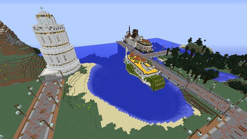 Minecrafterししゃもがマインクラフトで南港に灯台とビーチを作る2