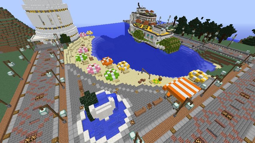 Minecrafterししゃもがマインクラフトで南港に灯台とビーチを作る4