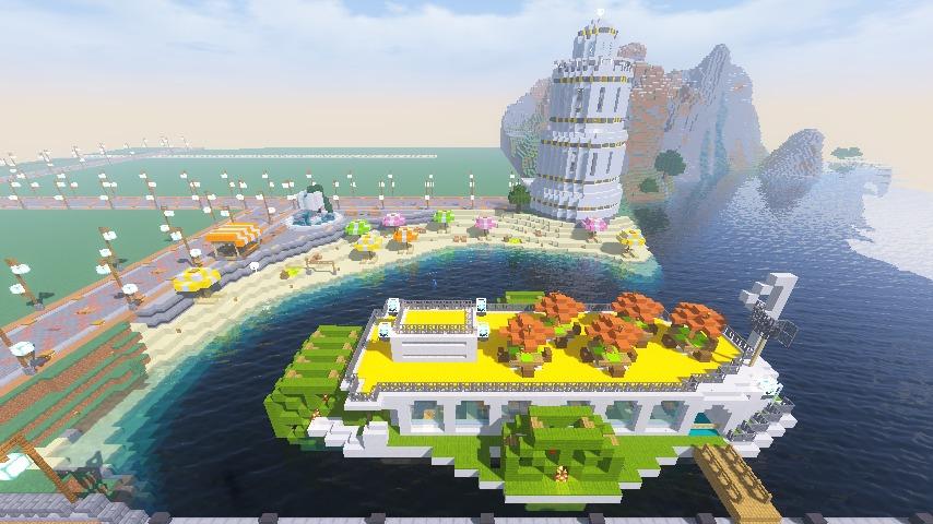 Minecrafterししゃもがマインクラフトで南港に灯台とビーチを作る10
