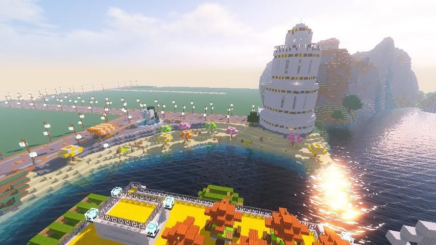 Minecrafterししゃもがマインクラフトで南港に灯台とビーチを作る8
