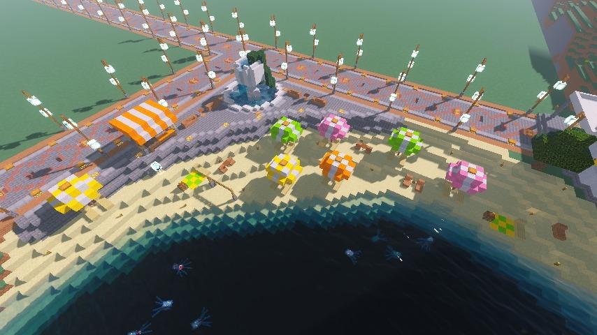 Minecrafterししゃもがマインクラフトで南港に灯台とビーチを作る9