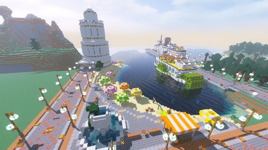 Minecrafterししゃもがマインクラフトで南港に灯台とビーチを作る7