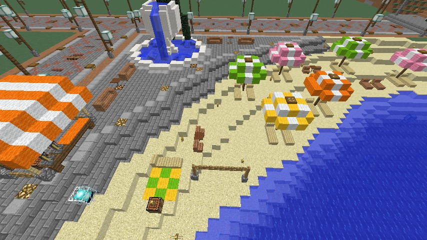 Minecrafterししゃもがマインクラフトで南港に灯台とビーチを作る5