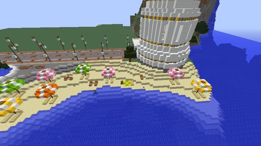 Minecrafterししゃもがマインクラフトで南港に灯台とビーチを作る6