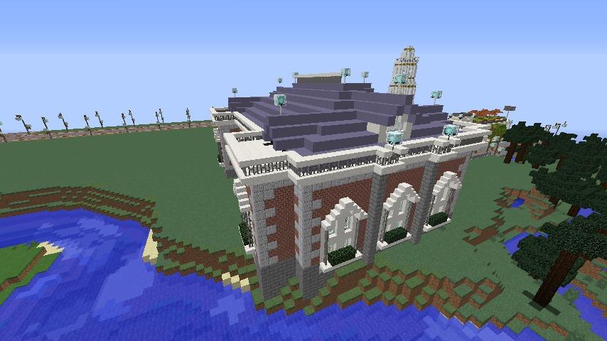 Minecrafterししゃもがマインクラフトで南港に旧御所水道ポンプ室をモデルにしたチケット売り場を作る7