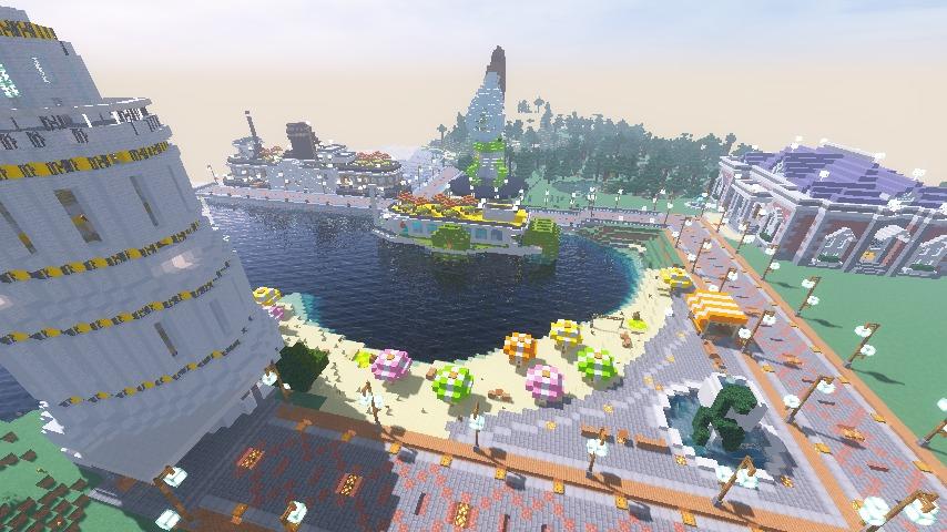Minecrafterししゃもがマインクラフトで南港に旧御所水道ポンプ室をモデルにしたチケット売り場を作る16