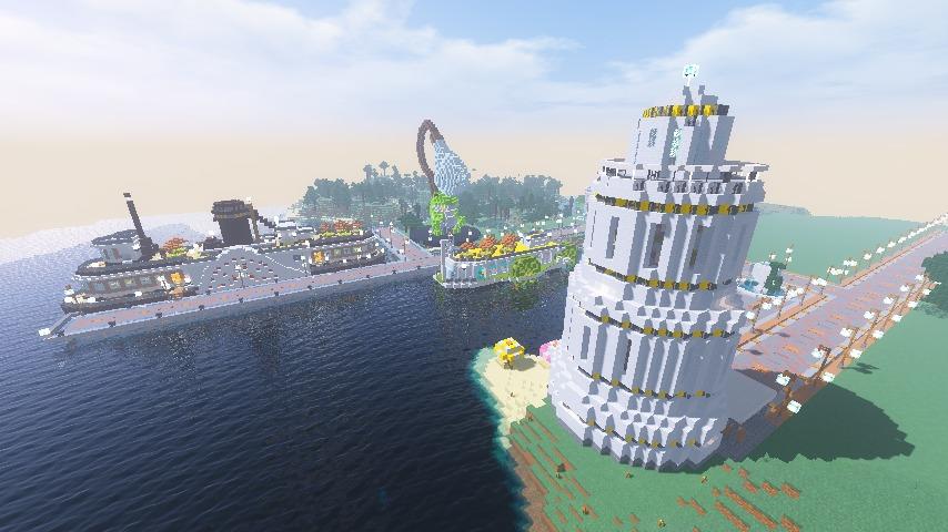 Minecrafterししゃもがマインクラフトで南港に灯台とビーチを作る11