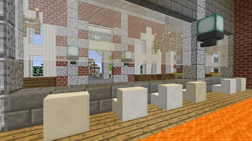 Minecrafterししゃもがマインクラフトで南港に旧御所水道ポンプ室をモデルにしたチケット売り場を作る14