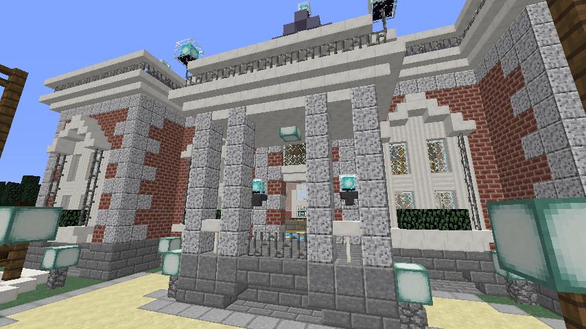 Minecrafterししゃもがマインクラフトで南港に旧御所水道ポンプ室をモデルにしたチケット売り場を作る9