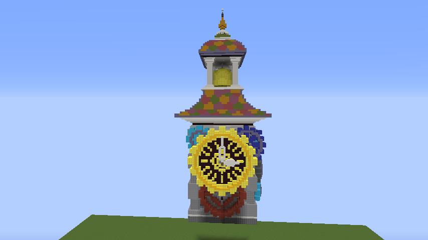 Minecrafterししゃもがマインクラフトでぷっこ村に入船山時計塔をモデルに小さな時計塔を建築する5