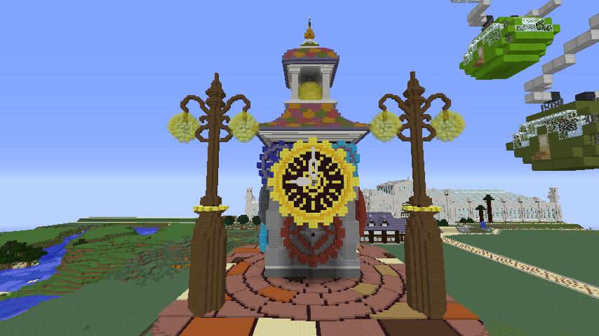 Minecrafterししゃもがマインクラフトでぷっこ村に入船山時計塔をモデルに小さな時計塔を建築する7
