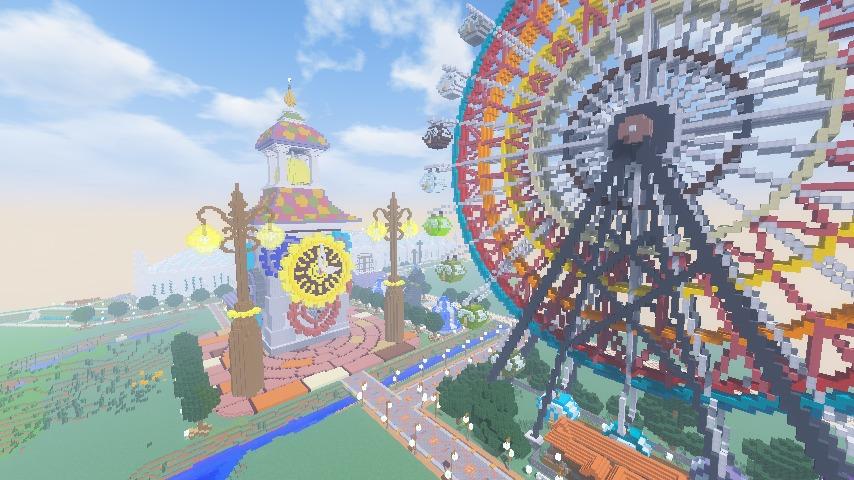 Minecrafterししゃもがマインクラフトでぷっこ村に入船山時計塔をモデルに小さな時計塔を建築する9