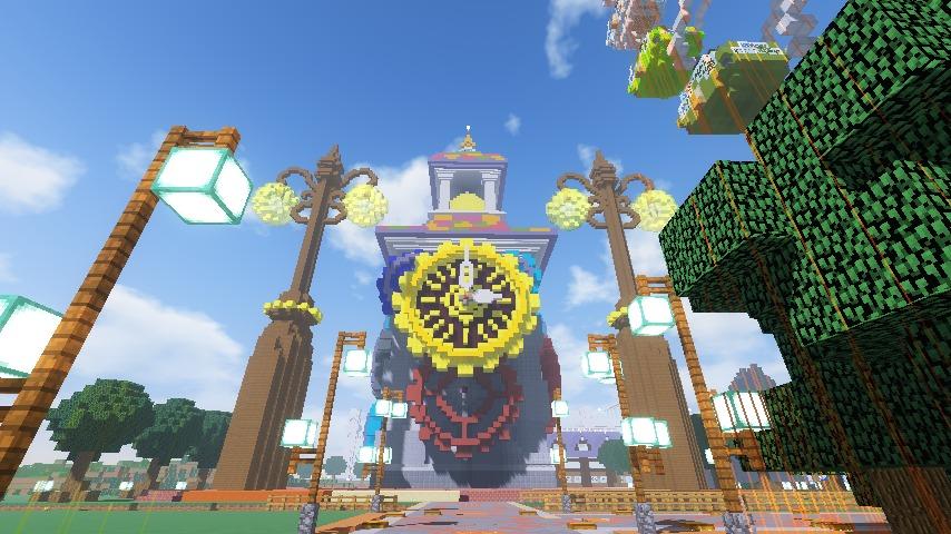 Minecrafterししゃもがマインクラフトでぷっこ村に入船山時計塔をモデルに小さな時計塔を建築する8