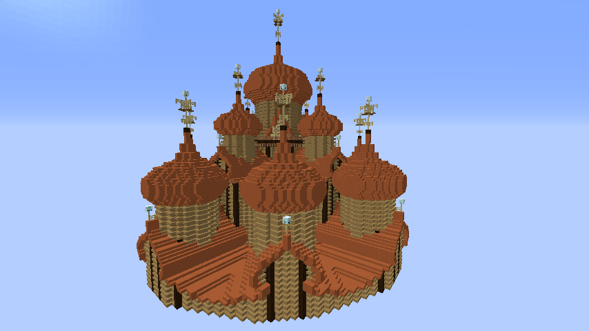 Minecrafterししゃもがマインクラフトでぷっこ村にプレオジェンスカヤ教会っぽいのを建築する2