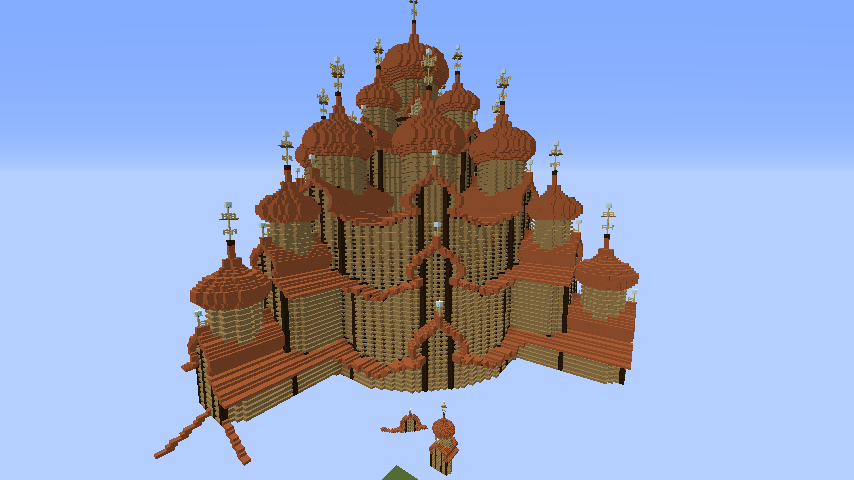 Minecrafterししゃもがマインクラフトでぷっこ村にキジ島にあるプレオブラジェンスカヤ教会っぽいのを建築する1