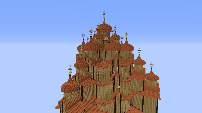 Minecrafterししゃもがマインクラフトでぷっこ村にプレオジェンスカヤ教会っぽいのを建築する3
