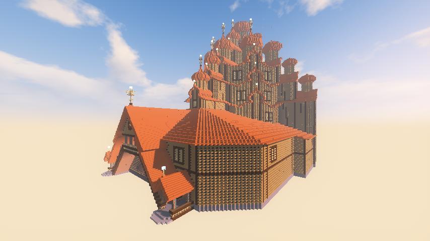Minecrafterししゃもがマインクラフトでぷっこ村にプレオジェンスカヤ教会っぽいのを建築する4