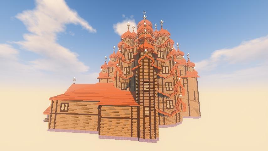 Minecrafterししゃもがマインクラフトでぷっこ村にプレオジェンスカヤ教会っぽいのを建築する6
