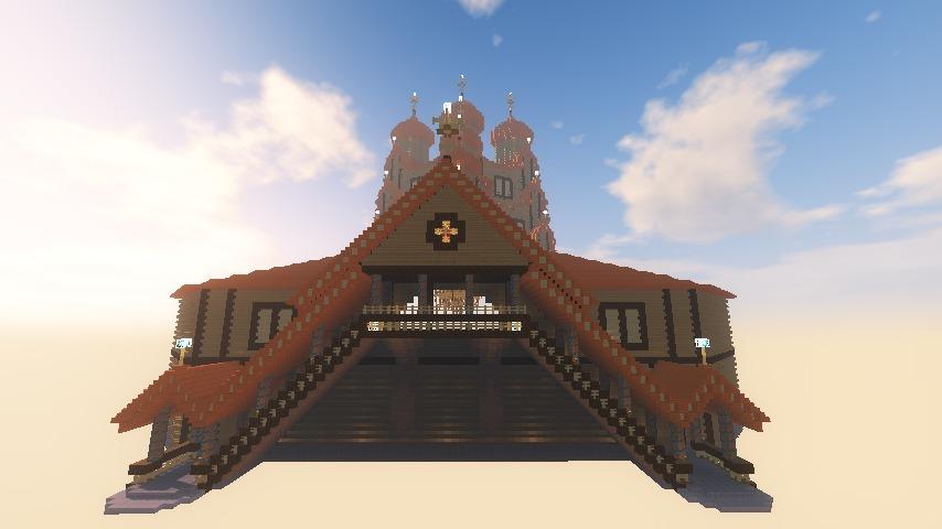 Minecrafterししゃもがマインクラフトでぷっこ村にプレオジェンスカヤ教会っぽいのを建築する5