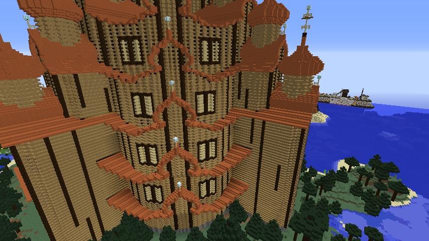 Minecrafterししゃもがマインクラフトでぷっこ村にプレオジェンスカヤ教会っぽいのを建築する9